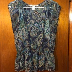 Blue Paisley Ruffle Top